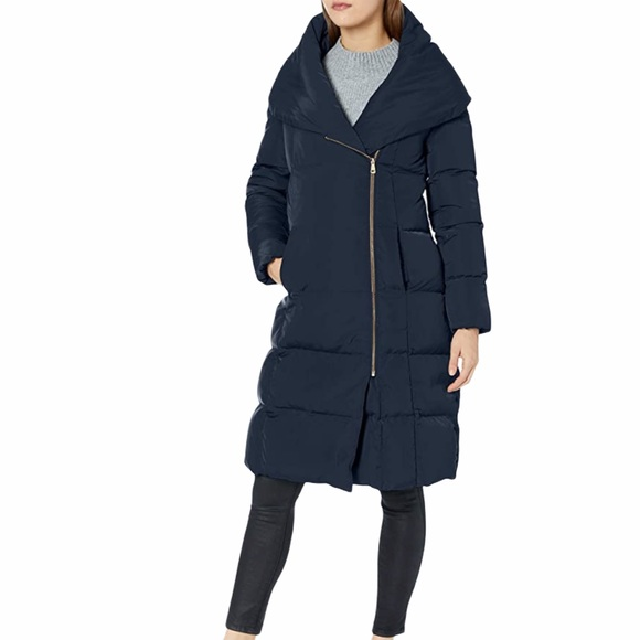 COLE HAAN Signature Asymmetrical Puffer Navy Coat